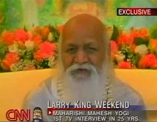 Maharishi Mahesh Yogi talks about Transcendental Meditation on CNN's 'Larry King Live' in 2002